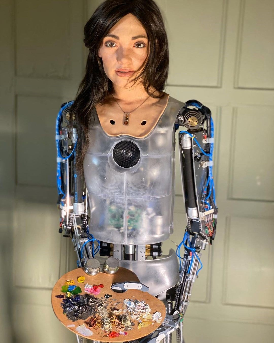 Selfies' by the world's first humanoid AI artist will go on ...