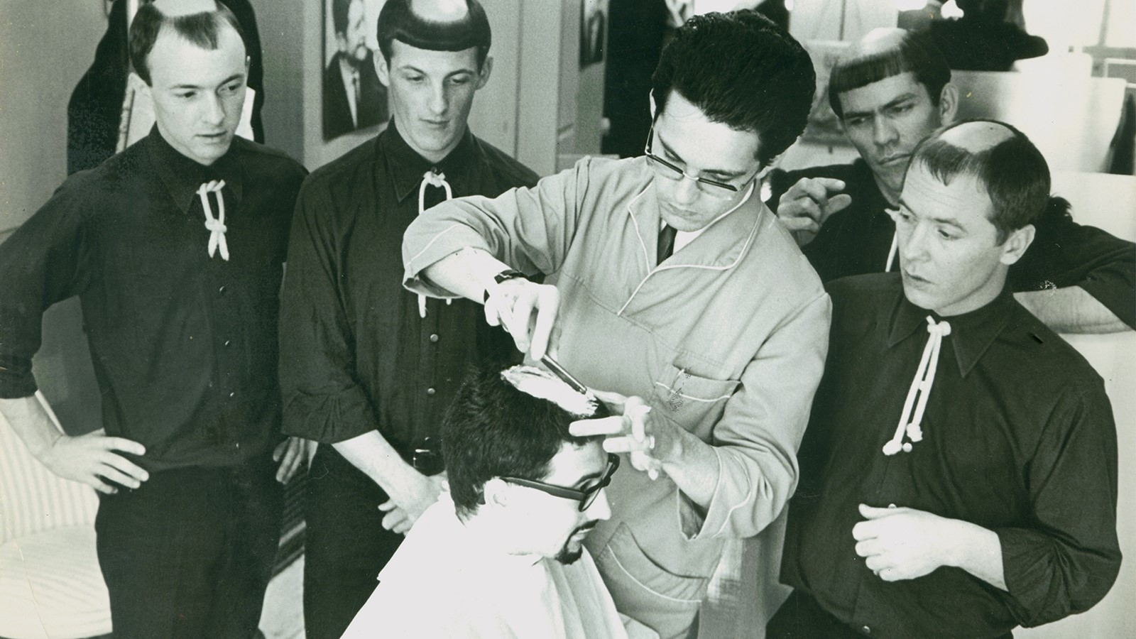 Larry under the barber's shears, 1966