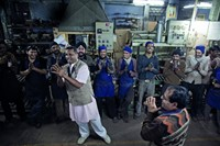 Jiten Kohi, 45, leads a laughter yoga session at S 1