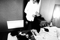 Colette packing for the Shepherd's Bush show. 11