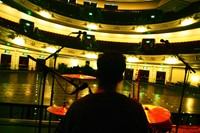 Alex sound checking the kit at Usher Hall, Edinbu