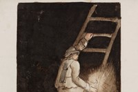 Miner with candle, climbing ladder, c. 1805-1830 2