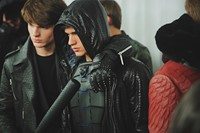Philipp Plein AW15 Leather Snakeskin Hood Black Backstage 20