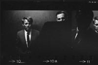 Double image of Bobby Kennedy in an elevator (1968 4