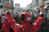 Anti-Government protestors clash with Thai police