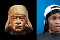 Left- Pre Colombian - Moche portrait head of 'Cut
