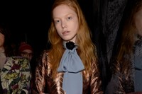 Gucci AW15 Dazed backstage Womenswear bow tie bronze 1