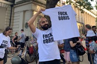 Protestors with 'Fuck Boris' t-shirts 4