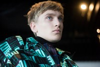 Kenzo AW15 Mens Blue Green Graphic Print Raincoat 4