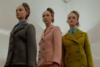 Prada AW15, Dazed backstage, Milan, Womenswear, suit, pastel 4