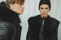 Philipp Plein AW15 Faux Fur Leather Texture Black Menswear 5