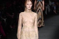 Valentino AW15 Dazed runway womenswear beige sheer feather