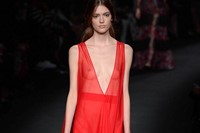 Valentino AW15 Dazed runway womenswear red sheer gown 6