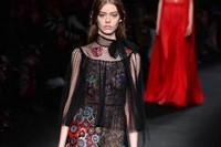 Valentino AW15 Dazed runway womenswear black flowers sheer