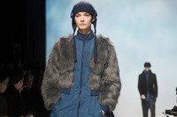 Y-3 AW15 Mens Blue Jacket-dress Fur Coat Hat With Flaps 24
