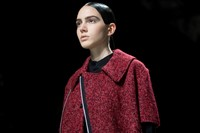 Y-3 AW15 Mens Silver Eyeliner Red Knit Mini Cape Zip 4
