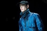 Y-3 AW15 Mens Blue Shiny Jacket Turtleneck Black Cap 7