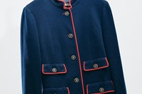 Chanel, haute couture navy skirt suit with red piping 3