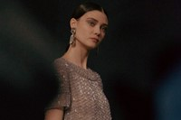 Armani Privé Haute Couture SS15 Beaded Drop Earrings Bow 6