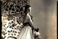 The Countess of Rosse wearing a white satin gown w 1
