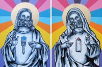 Zabou-Bless-Spray paint and acrylic on two canvasses-51x77cm