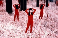 Yayoi Kusama with Infinity Mirrored Room, 1965