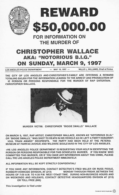 Reward poster for Notorious B.I.G.'s murder