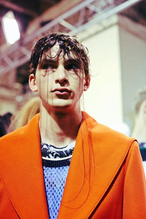 Backstage at Raf Simons SS15, Dazed