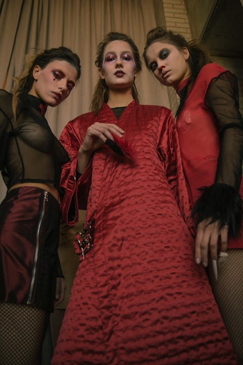 Ammerman Schlösberg AW15, womenswear, red, black, robe, NY