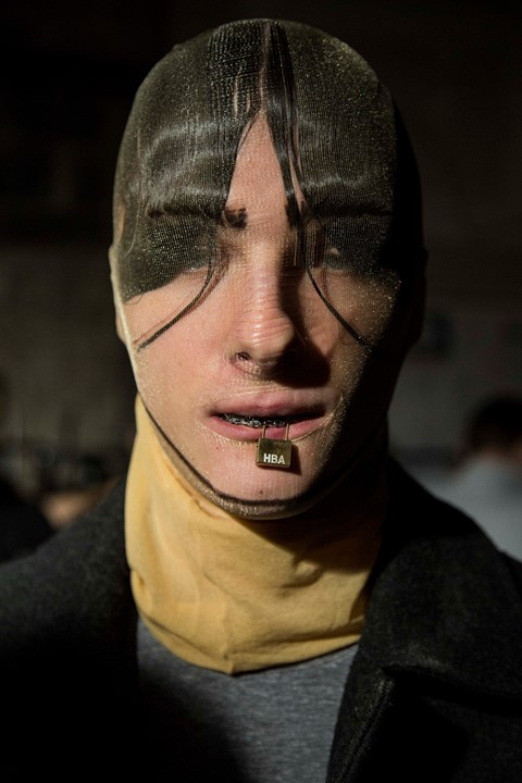 Hood By Air AW15 Dazed backstage womenswear pantyhose lock