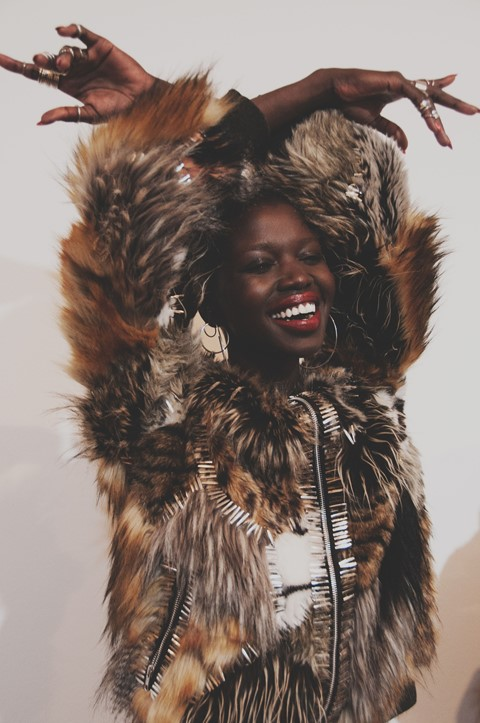 Ashish AW15 backstage Dazed womenswear faux fur smile