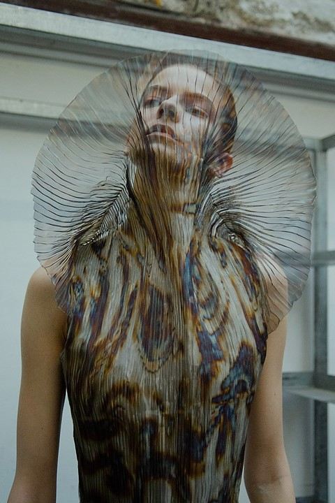 Iris Van Herpen AW15 Dazed backstage womenswear oil slick