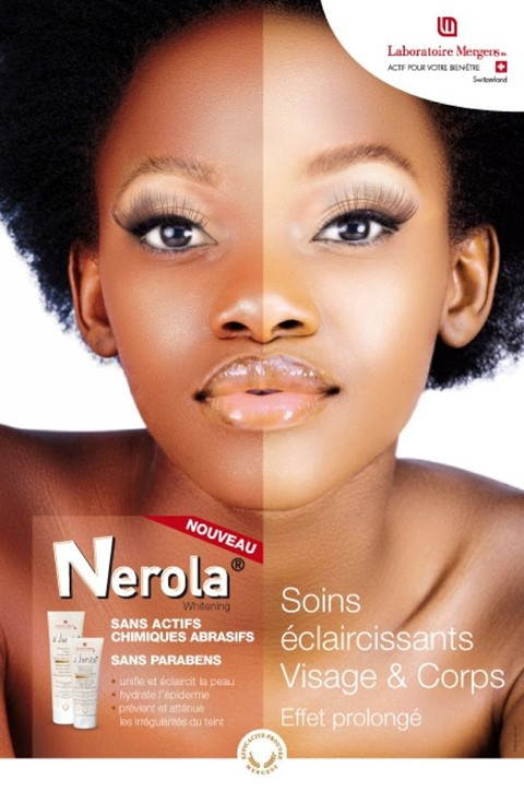 An advertisement for a skin-bleaching product