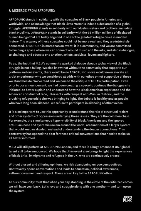AFROPUNK MIA statement