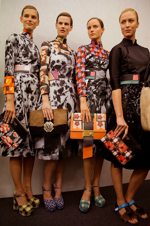 Backstage at Prada SS17 MFW Dazed