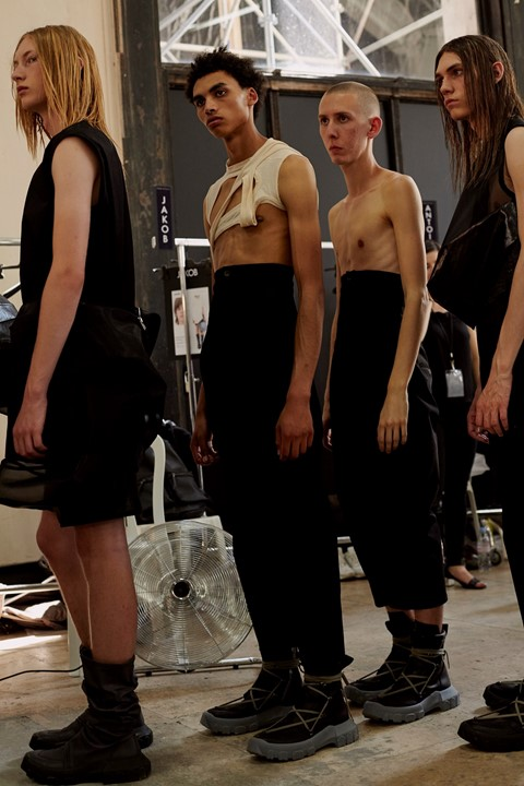 Rick Owens SS18 menswear paris show backstage