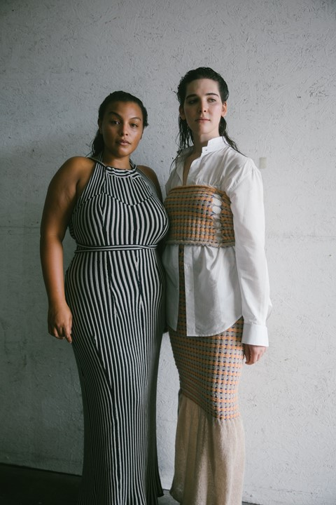 Paloma and Hari Backstage Eckhaus Latta SS20 NYFW 3
