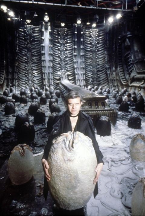 HR Giger on the set of Alien