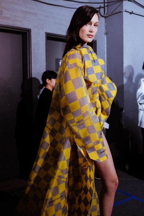 Backstage at Off-White AW19 bella hadid