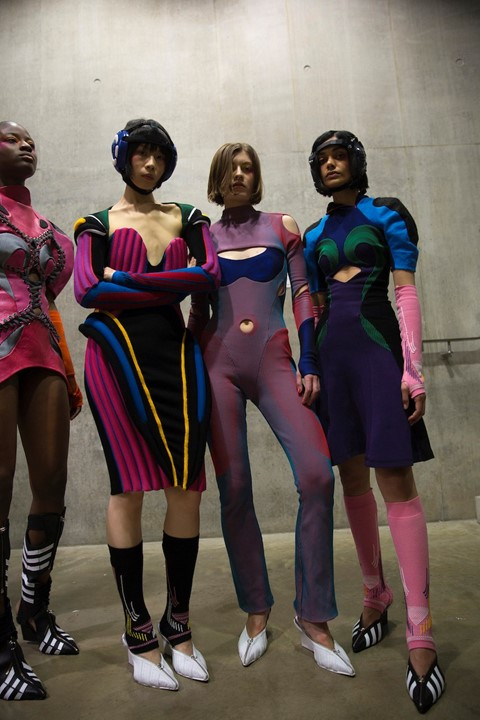 Backstage at the AW20 Central Saint Martins MA fashion show