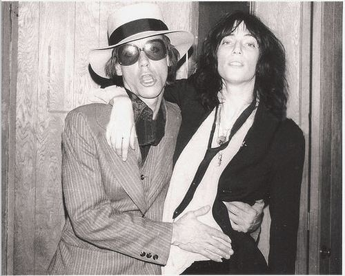 Iggy Pop and Patti Smith backstage at the Roxy, 1977