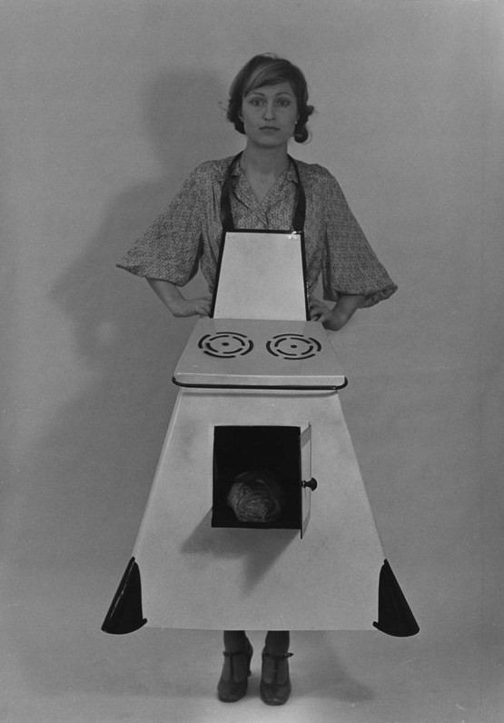 "Birgit Jürgenssen's ""Housewives' Kitchen Apron"", 1974-75"