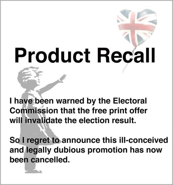 Banky's new statement titled 'Product Recall'