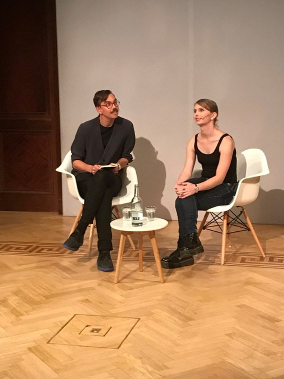 Chelsea Manning in her first public appearance at the ICA