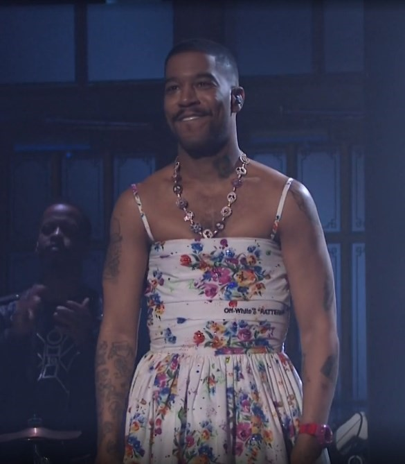 Kid Cudi performs in an Off-White dress on SNL