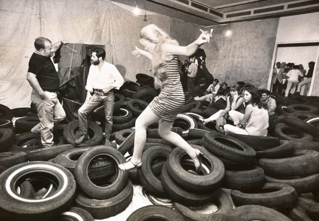"Allan Kaprow (centre, with beard) and participants in his ""Y"