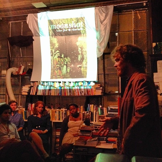 A reading at Mellow Pages Library in Bushwick, New York