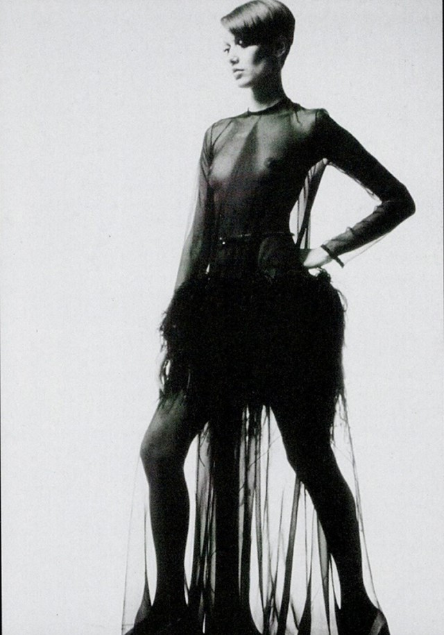 5a7d4308ff2 The famous black chiffon dress with an ostrich feather skirt caused a minor  scandal when Yves Saint Laurent sent it out on the catwalk in 1968.