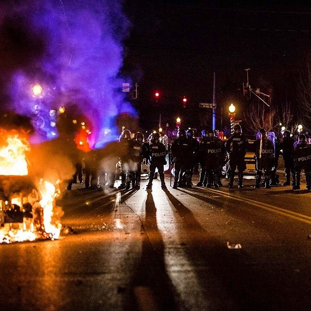 Police gathering in Ferguson after the grand jury decision