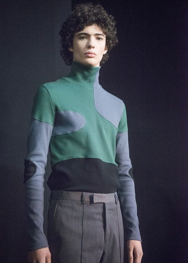 Krisvanassche AW15 Mens Green And Blue Patch Turtleneck
